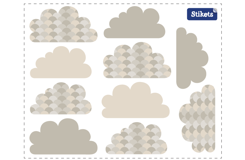 Grey, textured Clouds Wall Decals
