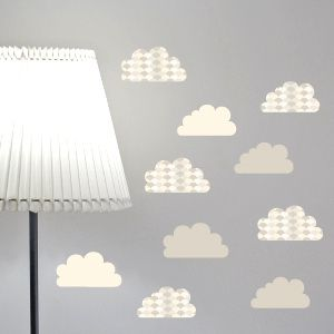 Grey textured clouds wall stickers