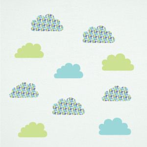 Green Pinwheel Clouds Wall Decals