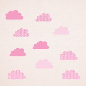 Pink starred clouds wall stickers