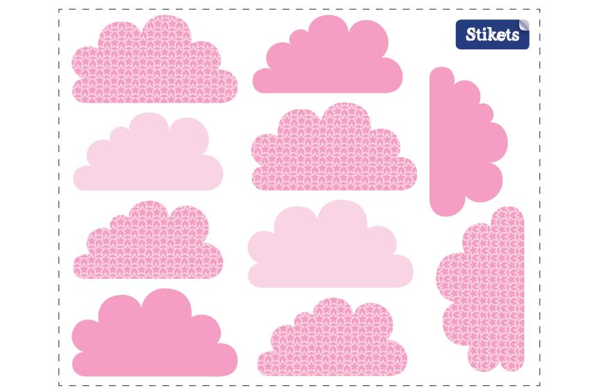 Stickers Nuages rose texturisé
