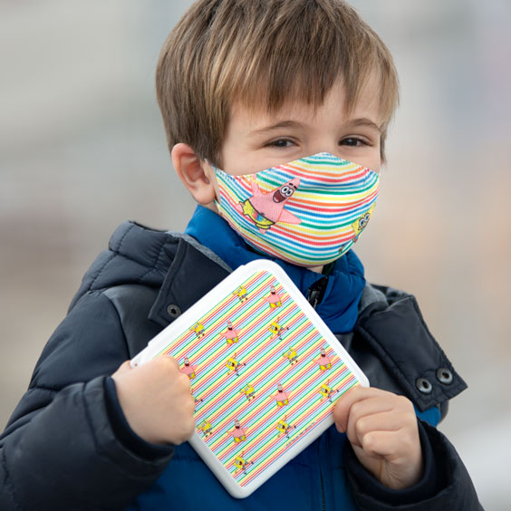 Pack mascherina e porta-mascherina SpongeBob per bambini dai 6 ai 12 anni + 10 filtri