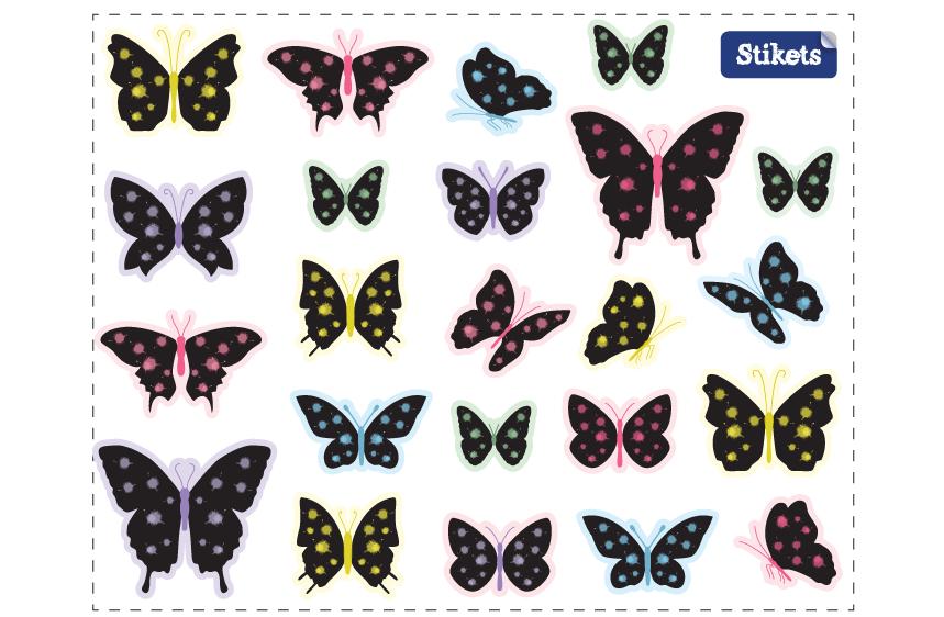 Stickers Papillons noir moucheté