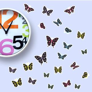 Black polka-dot butterfly wall stickers