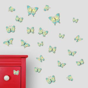 Blue and yellow butterfly wall stickers
