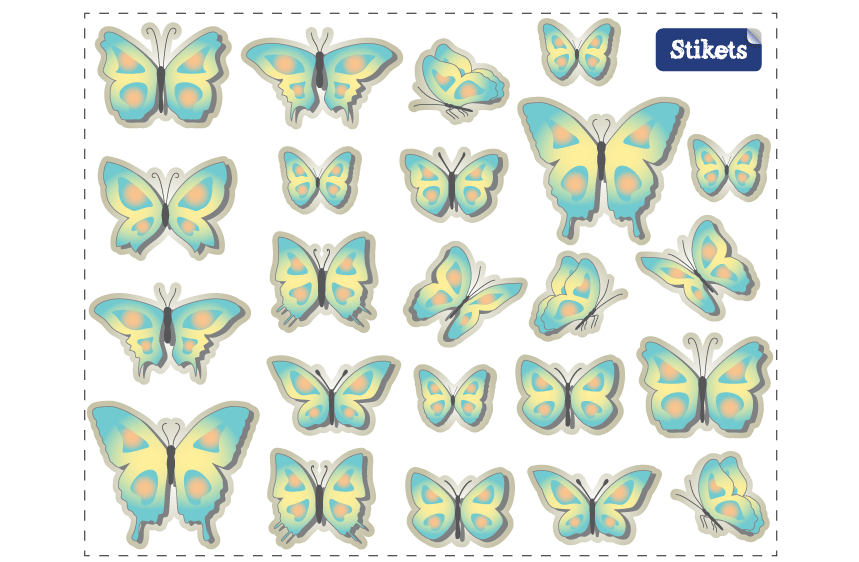 Vinilo de mariposas azules y amarillas