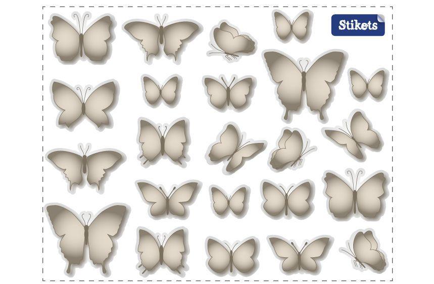 Stickers Papillons gris cendré