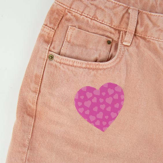 Patch thermocollant motif coeur pour textile