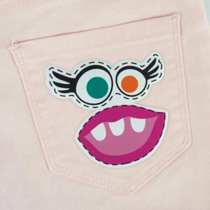 Patch thermocollant en forme de monstre fille pour textile