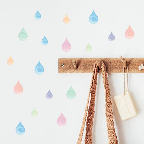 Stickers gouttes d'eau couleurs pastels