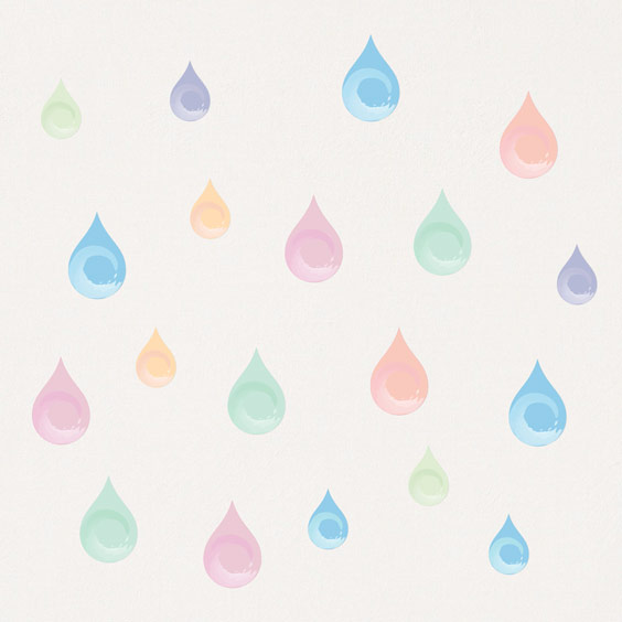 Colourful rain drops wall stickers
