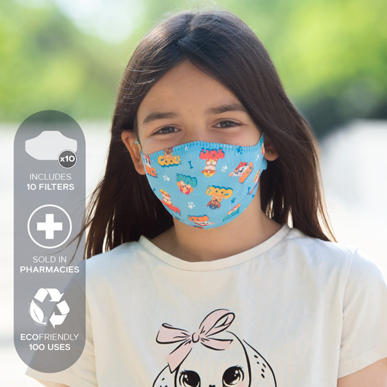 Paw Patrol Face Mask for children from 6 to 12 years + pack of 10 filters