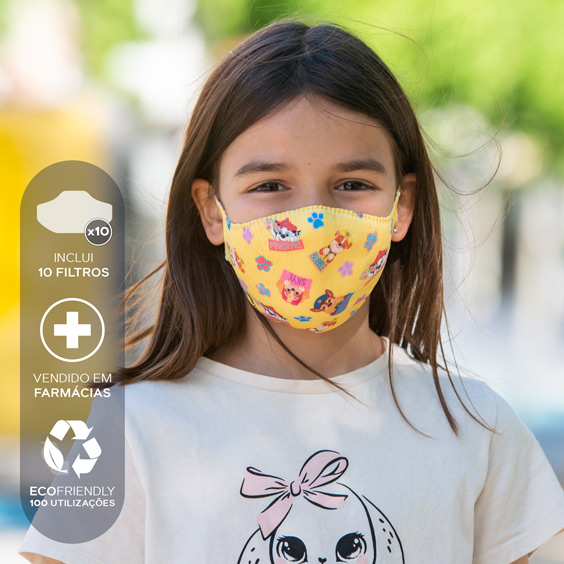 Máscara de Patrulha Pata para crianças de 6 a 12 anos + Pack de 10 filtros