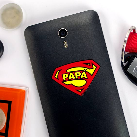 SuperPapa Shield Phone Sticker