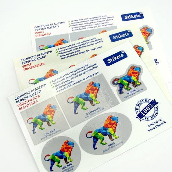 Campione di adesivi personalizzati