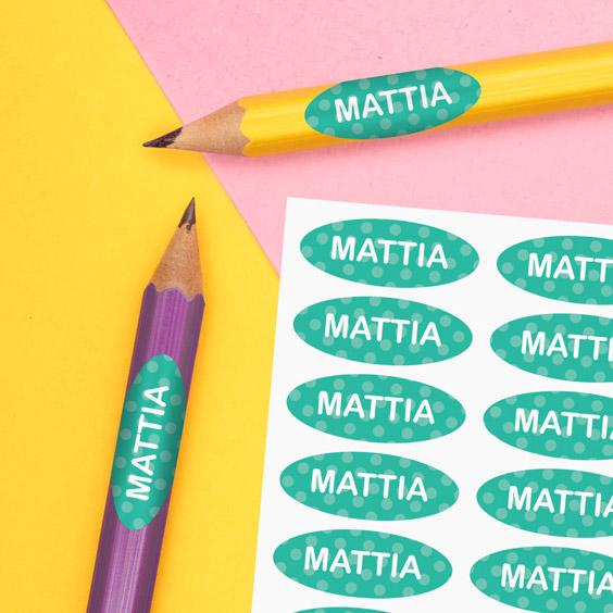 Etichette per matite scolastiche