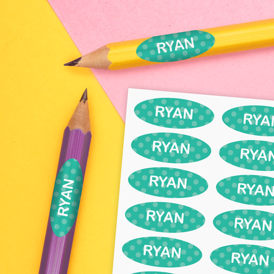 Labels for school pens and pencils