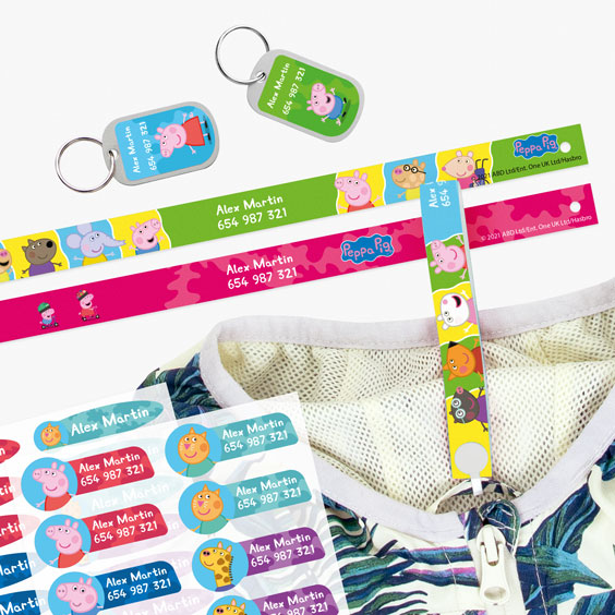 Peppa Pig Hanging Loops, Iron-On Labels and Tags for Backpacks