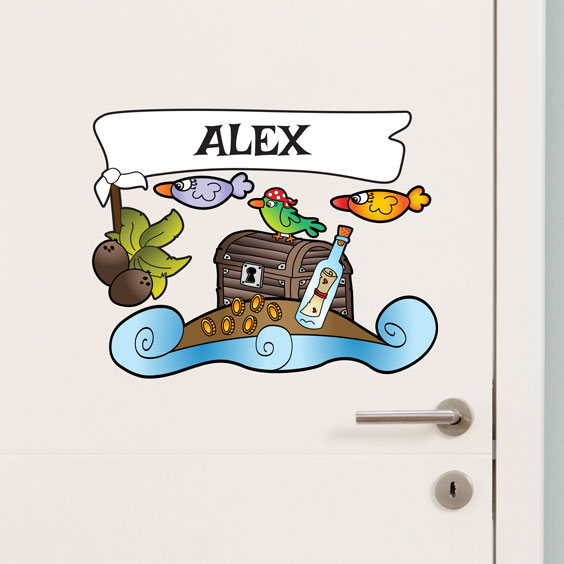 Personalised pirate island wall stickers