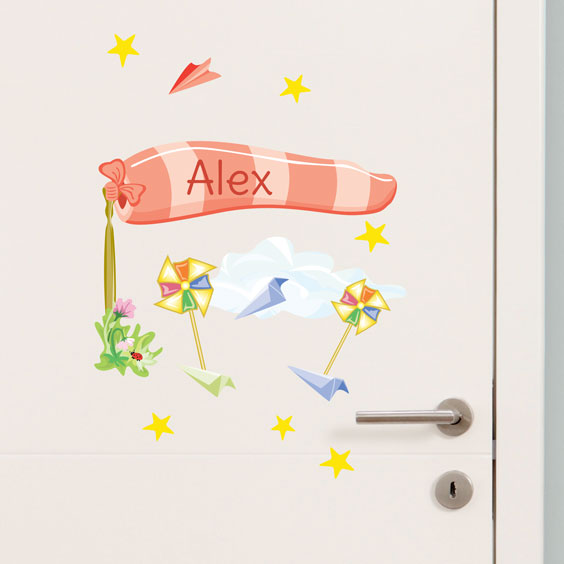 Personalised pinwheel wall stickers