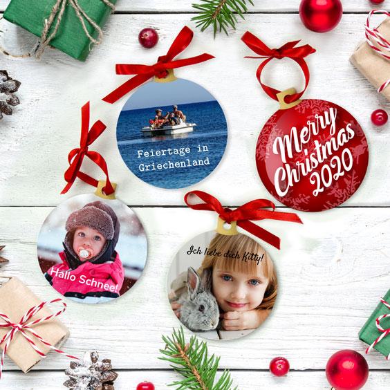 Weihnachtskugeln mit personalisiertem Design
