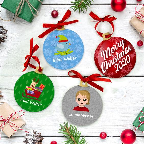 Personalisierte Weihnachtskugeln mit Symbol