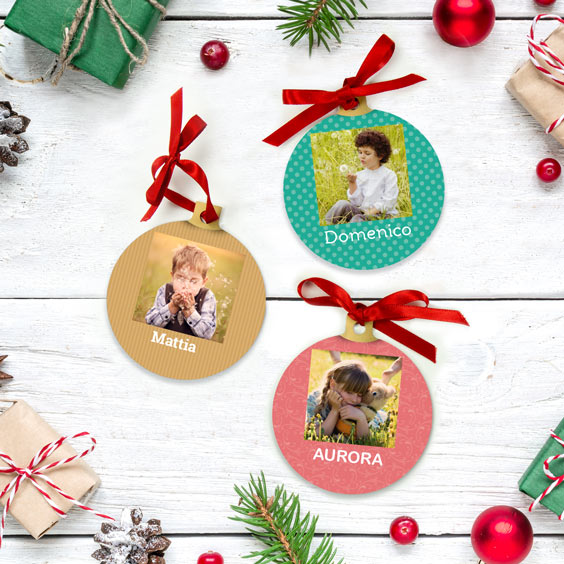 Palle di Natale personalizzate con foto quadrata