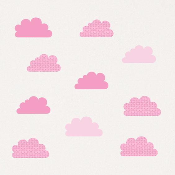 Vinil de nuvens rosas com estrelas