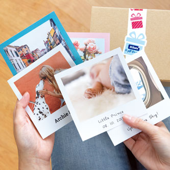Adhesive photo with frame