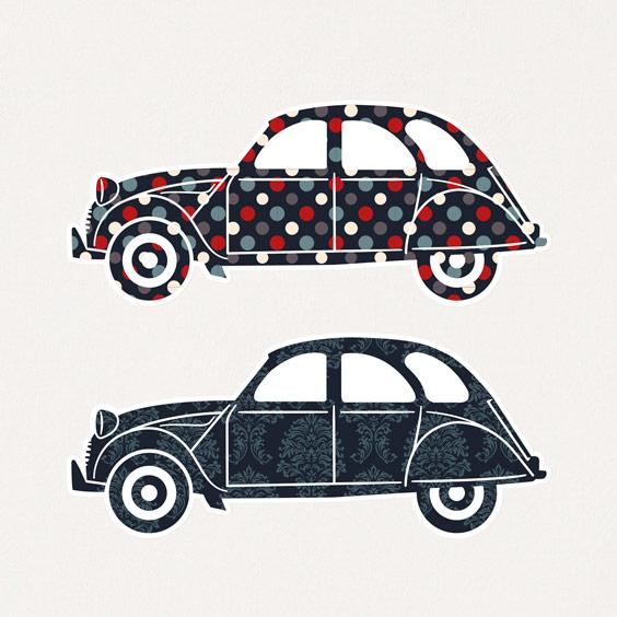 Vinilo coches 2CV 2