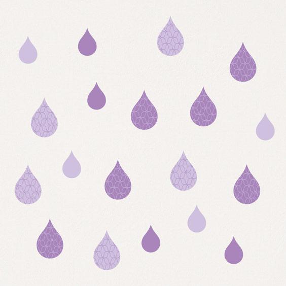 Stickers gouttes d'eau parme pastel
