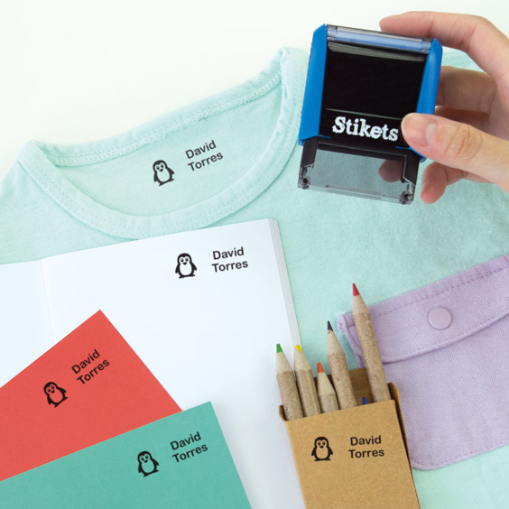 Personalised rectangular name stamp for clothes and belongings