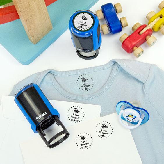 Runder personalisierter Namensstempel für Textilien und Gegenstände