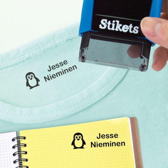 Personalisoitu suorakulmainen nimileima vaatteille ja tarvikkeille