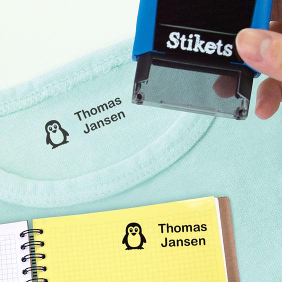 Gepersonaliseerde rechthoekige naamstempel voor kleding en bezittingen