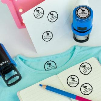 Henkilökohtaistettu ympyränmuotoinen nimileimasin vaatteita ja esineitä varten