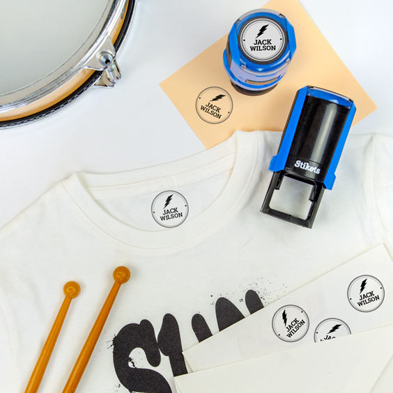 Personalised round name stamp for clothes and belongings