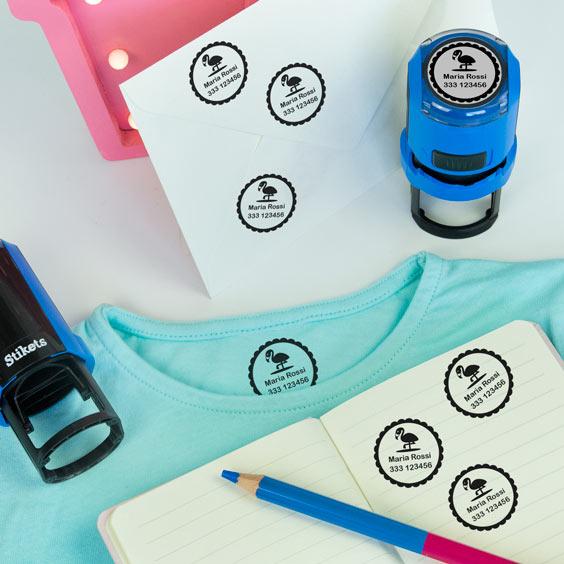 Timbro rotondo personalizzato per identificare vestiti e oggetti