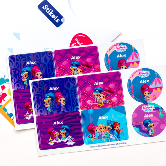 Shimmer and Shine Labels for Water Bottles and Lunch Boxes