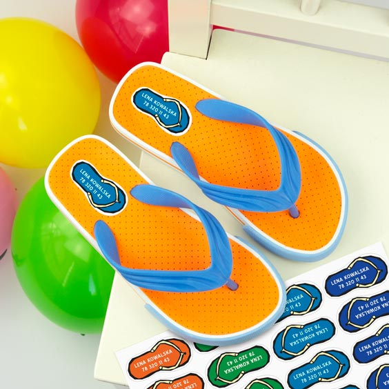 Flip flops shoe labels