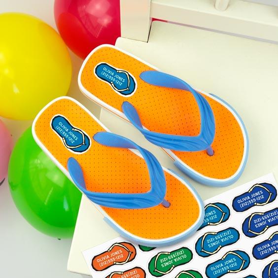 Flip flops shoe labels