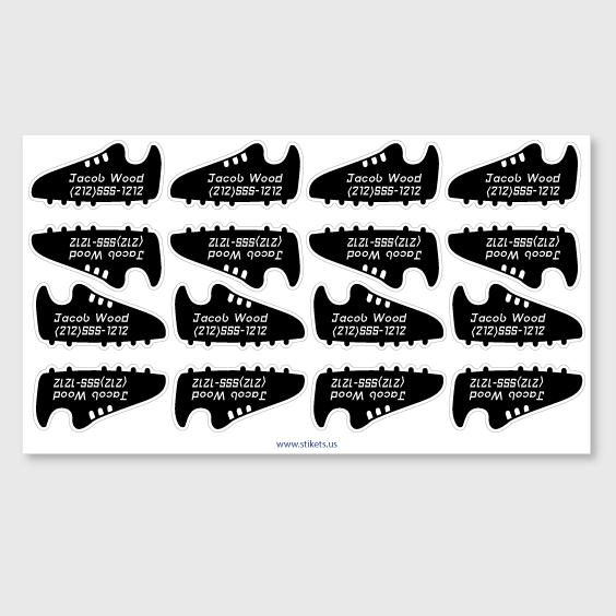 Sportive shoe labels