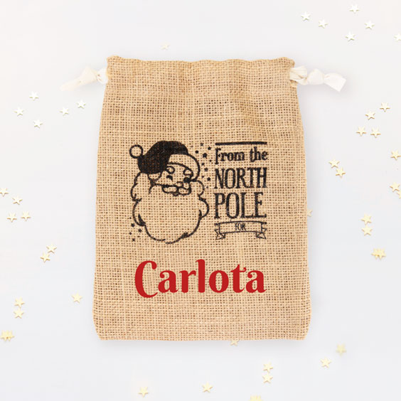 Small Personalized Santa Gift Bag