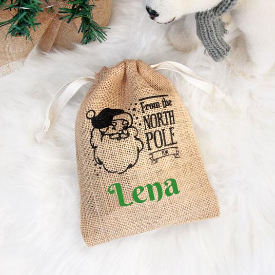 Mały personalizowany worek Świętego Mikołaja na prezenty