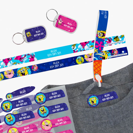 SpongeBob Squarepants Hanging Loops, Iron-On Labels and Tags for Backpacks