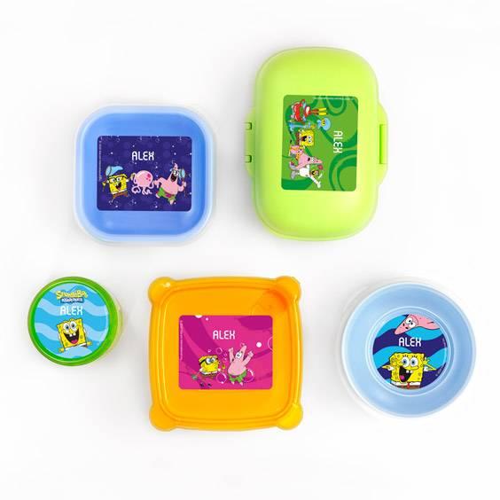 Etiketten für Flaschen und Brotdosen mit SpongeBob