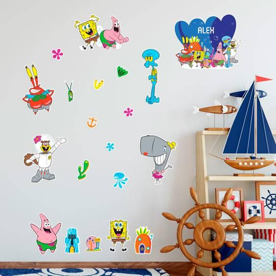 Sticker mural personnalisé Bob L'Éponge