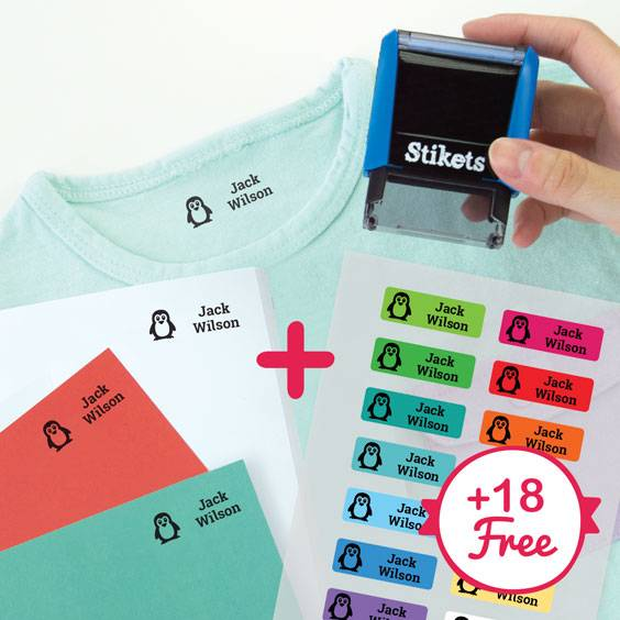 Personalised rectangular name stamp for clothes and belongings + 18 iron-on clothing labels