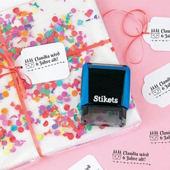 Rechteckiger personalisierter Stempel für Geschenke und Geburtstage