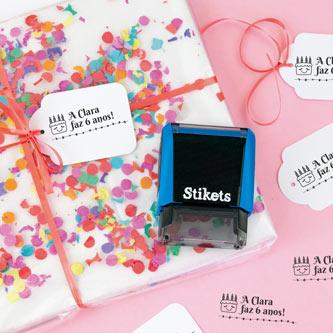 Carimbos personalizados para presentes e aniversários